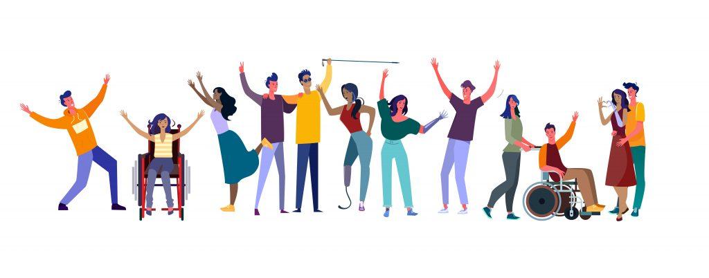 Disabled men and women community. Flat vector illustrations. Diversity, communication concept for banner, website design or landing web page